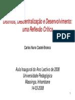 Distritos Descentralizacao e Desenvolvimento