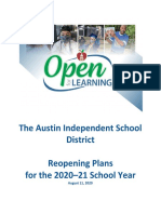 Austin ISD Reopening Guidelines (Aug. 11)