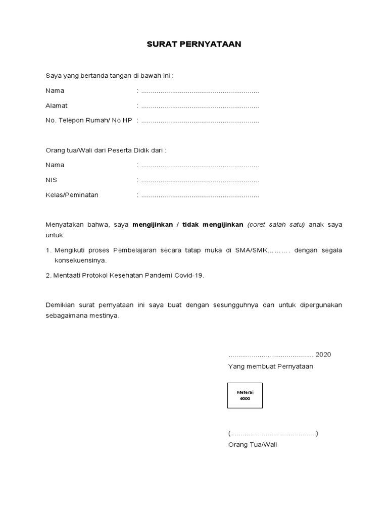 Contoh Surat Pernyataan Orang Tua Siswa