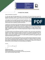 HWPL Franklin Hoet Linares Letter condemning harassment against Shincheonji leader