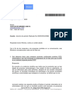 PQR Reintegro Covid  Respuesta del Ministerio  No segunda prueba