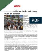 Unidad 3. Recurso 3. Artículo Más de 2 millones de dominicanos viven en exterior - El Nacional