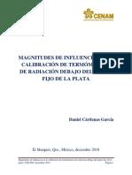 Magnitudes de influencia en la calibración de TR