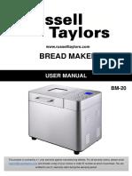 RUSSELL TAYLORS Bread Maker BM-20 Manual Guide