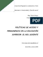 Políticas de acceso y permanencia en la educación superior. El rol docente