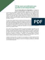 Ley 1753 de 2015 fija nuevo procedimiento para cotización a seguridad social independientes