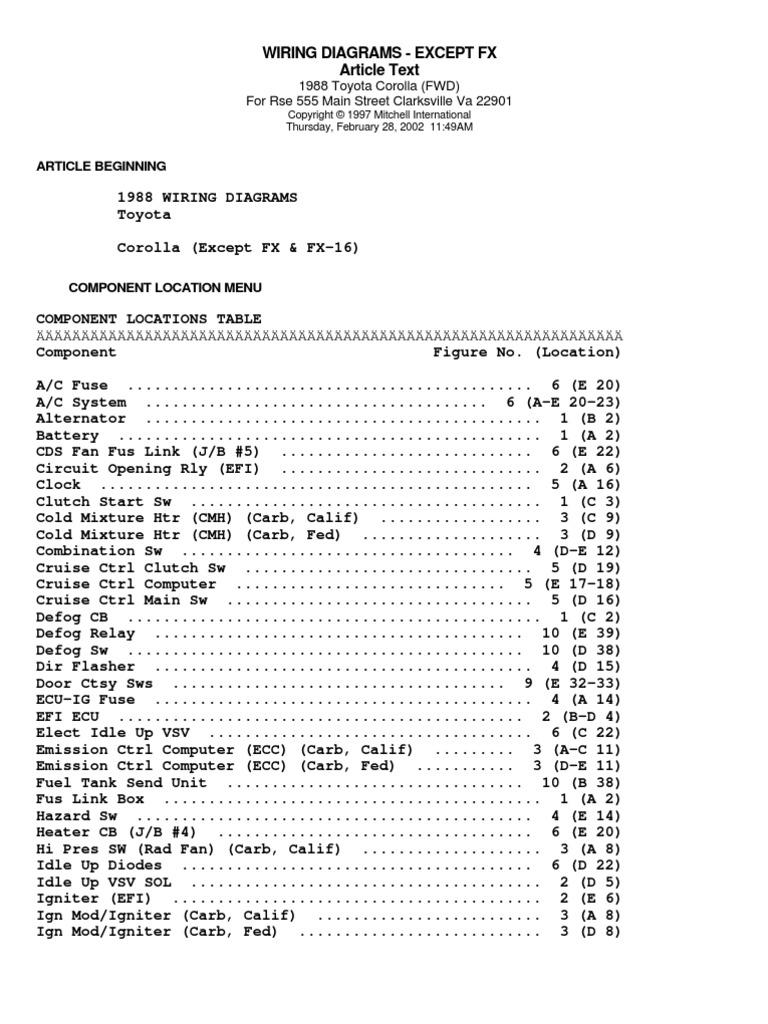 Toyota 1988 Corollafwd Wiring Diagrams Diagram