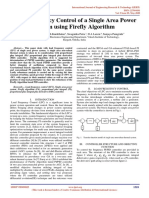 Load Frequency Control of a Single Area Power System using Firefly Algorithm