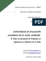 Estrategias de afiliación académica en el nivel superior. El Taller de Resolución de Problemas en Ingeniería en Alimentos de la UNLu