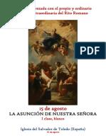 15 de Agosto. Asunción de la Santísima Virgen. Propio y Ordinario de la santa misa rezada