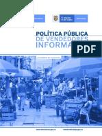 Política Pública de vendedores informales (Documento en validación) (Incluye anexos)
