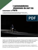 Cyclistes et automobilistes finalement dispensés du port du masque à Paris - Libération
