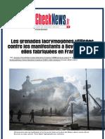 Les grenades lacrymogènes utilisées contre les manifestants à Beyrouth sont-elles fabriquées en Fran