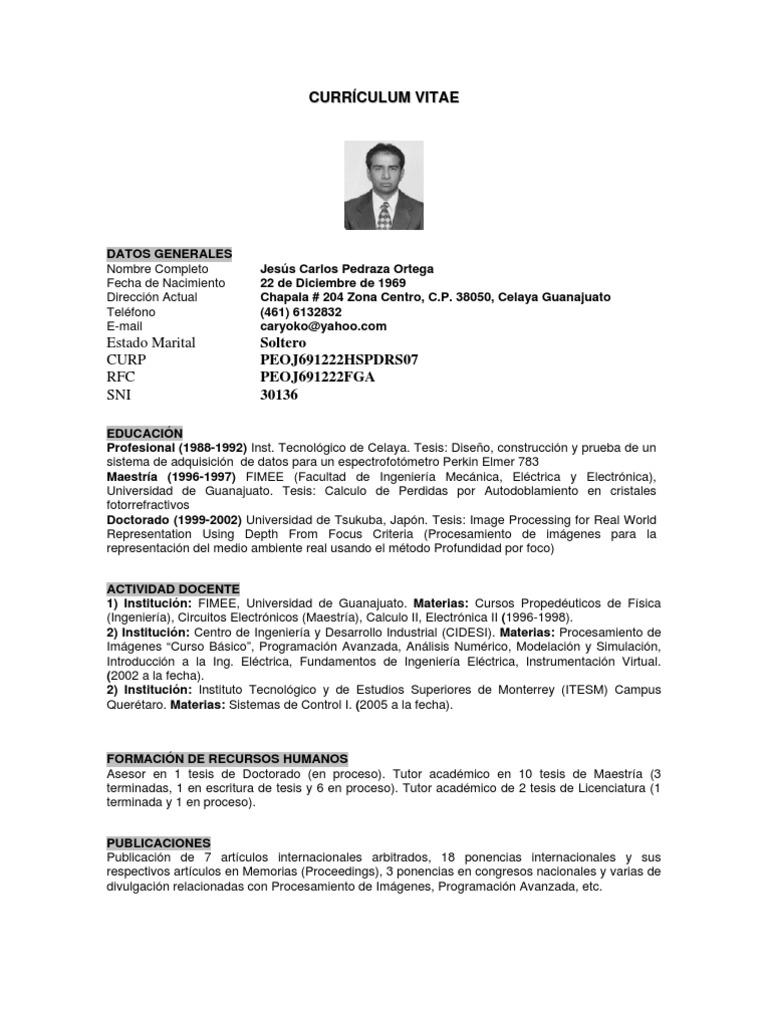 Cv Jesuspedraza Cidesi Ingeniería Ingeniería Eléctrica