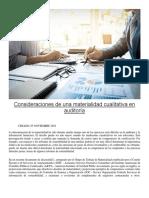 Consideraciones de una materialidad cualitativa en auditoría