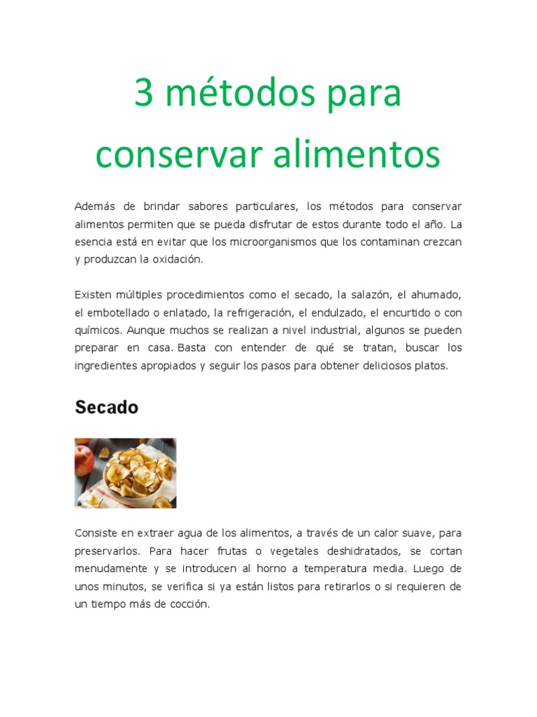 3 Metodos De Conservacion De Alimentos Decapado Vegetales