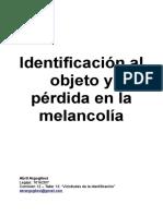 Identificación al objeto y pérdida en la melancolía