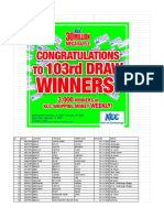 103rd - KCC 30 Million Mega Raffle 103rd Draw List of Winners