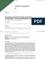 Inventario provisorio de las memorias anarquistas y anarcosindicalistas españolas