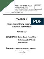 Crisis energetica y fuentes de energia renov.
