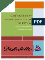Clasificación de los sistemas operativos por sus servicios