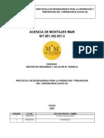 PROTOCOLO DE BIOSEGURIDAD COVID 19 AGENCIA DE MONTAJES M&M