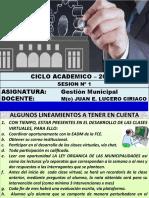 GESTION MUNICIPAL  SESION 1 - 2020-I