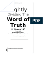 Rightly Dividing the Word of Truth - Part 1 - Pastor Rey Dungca - V12A