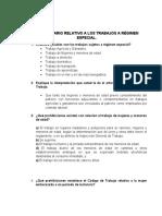 CUESTIONARIO REGIMEN ESPECIAL DERECHO LABORAL I
