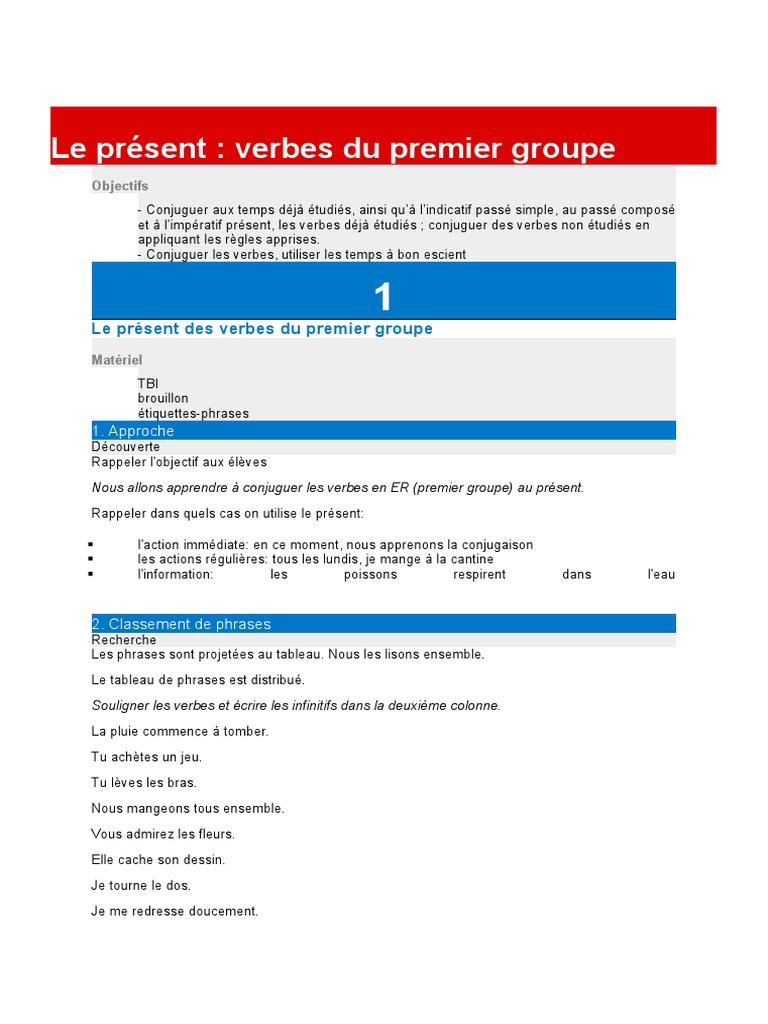 Le Present Des Verbes Du Premier Groupe Verbe Grammaire