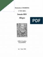 CIMAROSA, Domenico • Sonate BXV Allegro (edited by Gérard Reyne) (guitar music score)