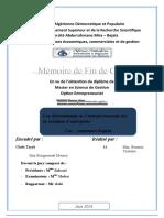 Les déterminants de l'entrepreneuriat sur la création d'entreprise Cas  commune Bejaia.doc