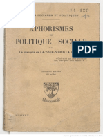 François-René La Tour Du Pin - Aphorismes de Politique Sociale [1930]