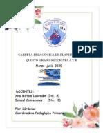 CARPETA PEDAGOGICA DE PLANIFICACION QUINTO GRADO COVID19