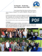 Informe Misionero  El Salvador Febrero 2020