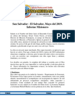 Informe Misionero El Salvador Mayo 2019