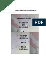 APORTES DE LA FILOSOFÍA DEL DERECHO Y DE LA TEORÍA JURÍDICA EN LA EDAD ANTIGUA.