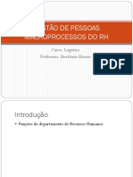 GESTÃO DE PESSOAS MACROPROCESSOS DO RH