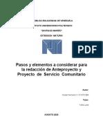INFORME  DE REDACCION DE  PROYECTO  SERVICIO