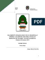 Rescate arqueológico Los Héroes San Pablo, Tecalco, municipio e Tecamac, Estado de México
