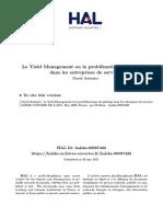 Le Yield Management ou la problématique du pilotage dans les entreprises de services