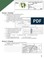 Devoir de Contrôle N°1 - SVT - 2ème Sciences (2013-2014) Mr Elwadi Abdessalem