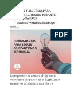 20 IDEAS Y RECURSOS PARA CUMPLIR LA MISIÓN DURANTE EL CORONAVIRUS