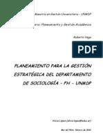Planeamiento para la gestión estratégica del Departamento de Sociología FH – UNMDP