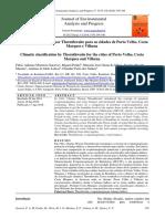Classificação climática por Thornthwaite para as cidades de Porto Velho, Costa Marques e Vilhena