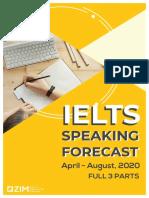 Forecast IELTS SPEAKING QUÝ III 2020 (FULL 3 PART)