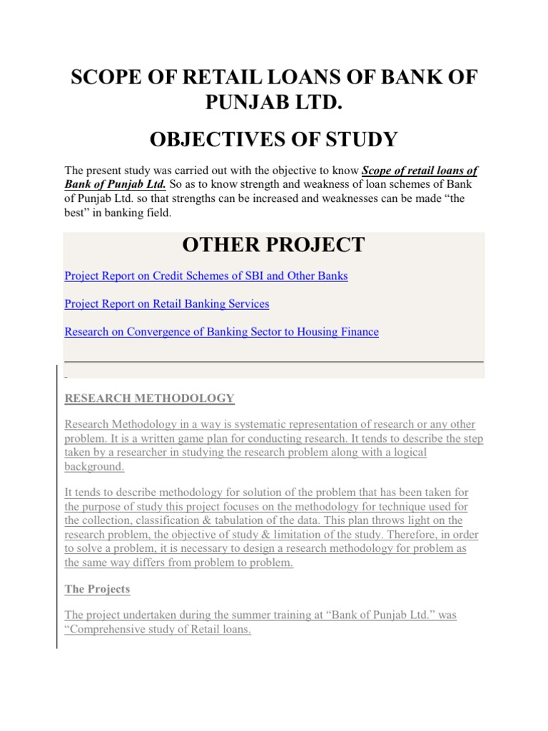 project report on retail banking