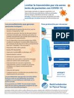 Precauciones para evitar la transmisión por vía aerea durante el tratamiento de pacientes con COVID-19
