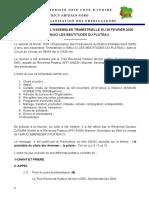 CR ASSEMBLEE DU 29 FEVRIER 2020 A  L'EMUCI LES BEATITUDES DU PLATEAU