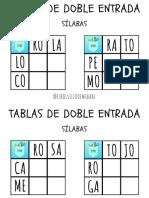 Tablas de doble entrada sílabas ELBOLSILLODEMIBABI